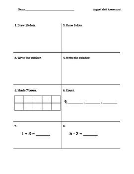 August Math Assessment