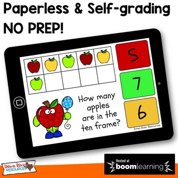 August Math Boom Cards   Ten Frames Kindergarten TEKS