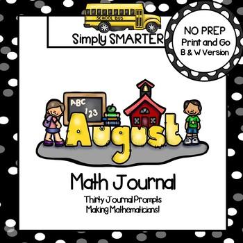 August Math Journal:  NO PREP Journal Prompts