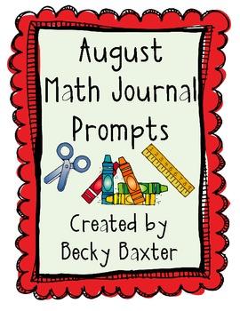 August Math Journal Prompts- Kindergarten C.C.