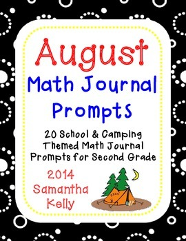August Math Journal Prompts for 2nd Grade