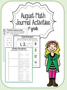 August Math Journal for First Grade
