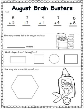 August Math Pack (1st Grade Common Core)