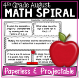 August Daily Math Spiral for 4th grade (Common Core)