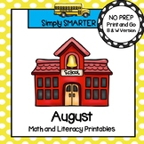 August Math and Literacy Printables and Activities For First Grade