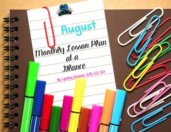 August Month at a Glance Lesson Plan