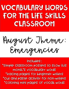 August Monthly Vocabulary Words for Life Skills Classroom