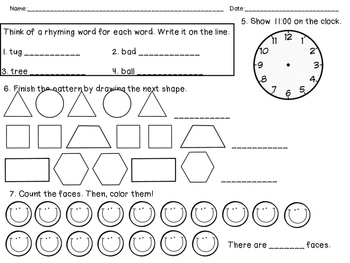 2nd Grade Common Core August Morning Work