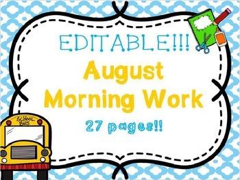 August Morning Work .... EDITABLE!!!
