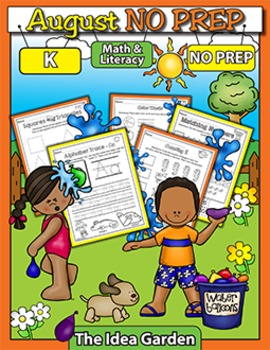 August NO PREP Back To School - Math & Literacy (Kindergarten)