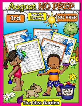 August NO PREP Back To School - Math & Literacy (Third)