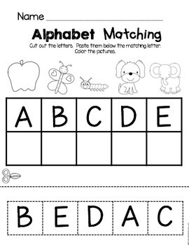 Kindergarten Back to School Worksheets - Alphabet and Math Activities