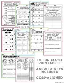 August NO PREP Printables: Math and Literacy BUNDLE