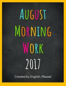 August Newcomer Morning Work Workbook