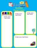 August Newsletter Back to school Editable 2 pages