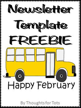 February Newsletter Template, Editable, FREEBIE