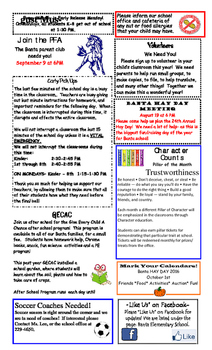 August Newsletter for the School
