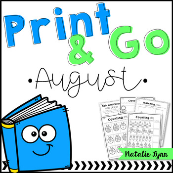 August No Prep Math and Literacy for Kindergarten