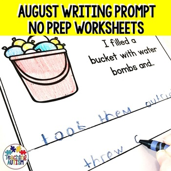 August No Prep Writing Prompt Worksheets