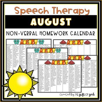 August Non-Verbal Homework Calendar