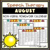 August Non-Verbal Homework Calendar