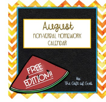 August Non-Verbal Homework Calendar FREEBIE!!!