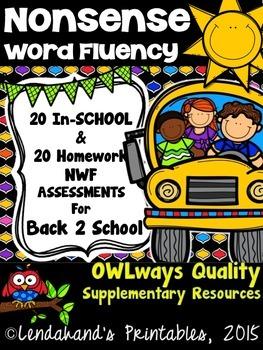 Back to School Nonsense Word Fluency R.T.I. Assessment Pack