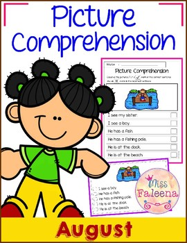 August Picture Comprehension Cards and Worksheets