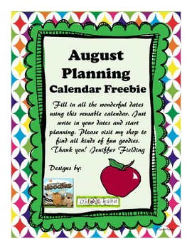 August Planning Calendar (Freebie)