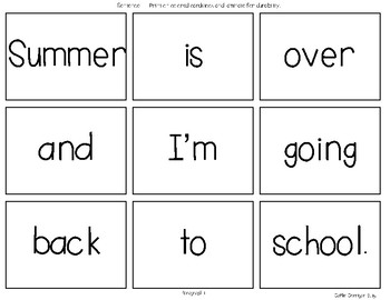 August & September Mixed Up Sentences - Reading, Writing & Sentence Building