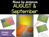 August & September Mixed Up Sentences - Reading, Writing &