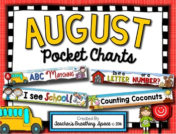 August Pocket Charts --- Four Math and Literacy Pocket Cha