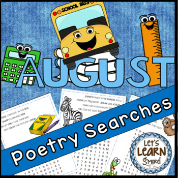 August Poetry, Word Searches, Fall Theme, Back to School, Original Poetry