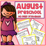 August Back to School Preschool Printable Packet NO PREP - All Subjects