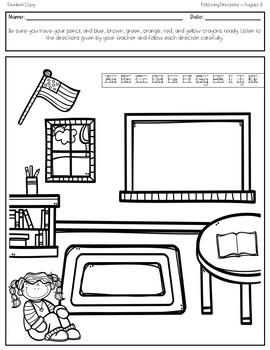 August Print 'N Go Following Directions Packet