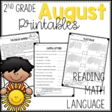 2nd grade August Printables Reading Language and Math