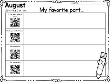 QR Code Listening Centers: August