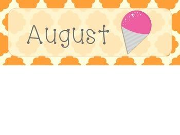 August Quatrefoil Calendar Set