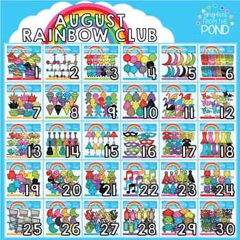 August Rainbow Club Clipart Bundle
