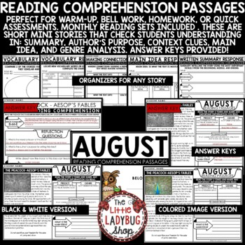 August Reading Comprehension Passages 4th Grade 3rd Grade & 5th Grade