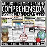 August Reading Comprehension Passages 4th Grade 3rd Grade
