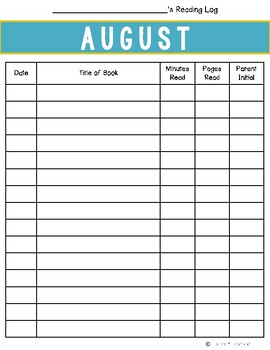 August Reading Log {Two Versions}