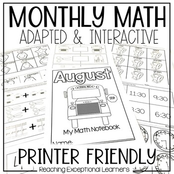 August SPED Math Adapted Workbook