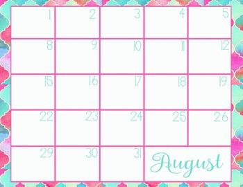 August School Calendar