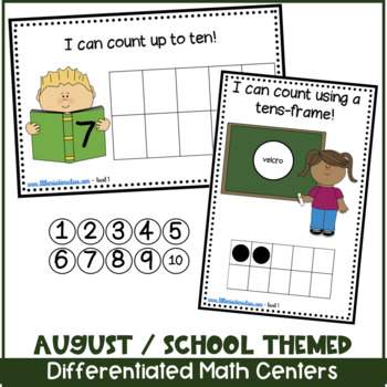 August/ School Themed Math Centers for ECE, kinder or special needs