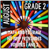 August Second Grade Math and Literacy Packet NO PREP Distance Learning