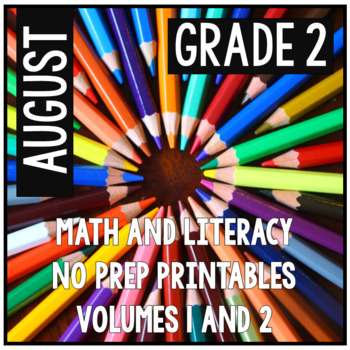 August Second Grade Math and Literacy Packet NO PREP Commo