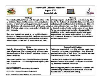 August Second Grade Homework Calendar Publisher Version