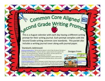 August Second Grade Writing Prompts and Journal Pages (Common Core Aligned)