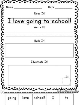 August Sentence Builders {morning work, word work, daily 5, & centers}